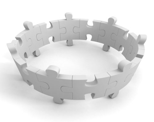 round teamwork concept jigsaw puzzle on white background